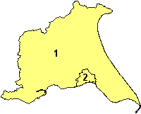 Outline map of the East Riding of Yorkshire with the borders of the City of Kingston upon Hull marked