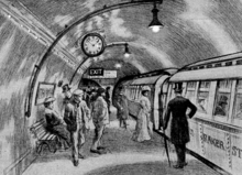 "Sketch showing about a dozen people standing on an underground railway platform with a train standing at the platform. Several more people are visible inside the train, which has the words ""Baker St"" visible on its side."