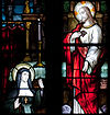 Stained glass at Tuam Cathedral, depicting Marguerite Marie Alacoque when she receives a revelation of the Sacred Heart