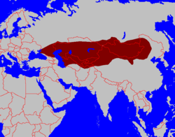 The Göktürk Khaganate at its greatest extent, in 576