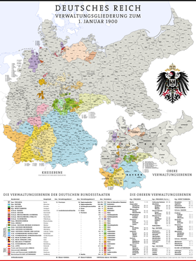 A map of the administrative divisions of Germany in 1900