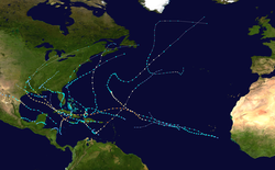 A map of the Atlantic Ocean depicting the tracks of 17 tropical cyclones.