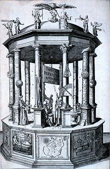 "Frontispiece of the ""Rudolphine Tables"" published by Johannes Kepler in 1627"
