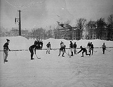 Photograph of outdoor hockey game