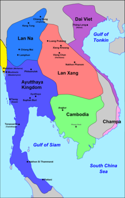 Ayutthaya's zone of influence and neighbours, c. 1540