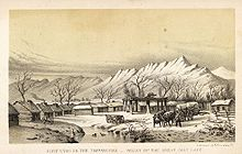 Drawing of small log buildings, with mountains in the background