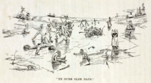 Cartoon drawing of hockey game and people falling through the ice