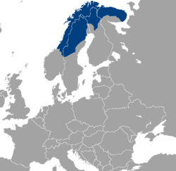 Location of Sápmi in Europe