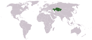 World map, with Kazakhstan in green