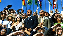 President Johnson and Vice President Spiro Agnew witnessing the liftoff of Apollo 11.
