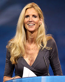 Ann Coulter smiling, with a blue wallpaper behind her
