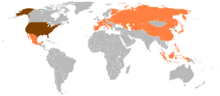 A map of the world. The United States is indicated in Red, while countries visit by President Ford during his presidency are indicated in Orange. Other countries are indicated in grey.