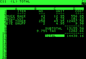 An example VisiCalc spreadsheet on an Apple II