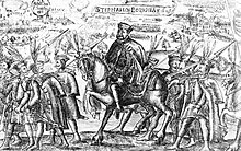 A corpulent man riding a horse, surrounded by footmen, each holding a lance