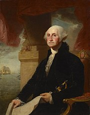portrait of Washington seated facing left by Gilbert Stuart