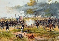 Painting of battlefield scene