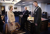 Thatcher photographed sharing a laugh with Rumsfeld and Pace