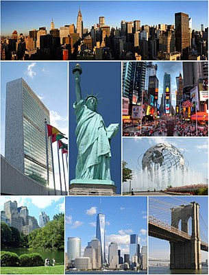 Clockwise, from top: Midtown Manhattan, Times Square, the Unisphere, the Brooklyn Bridge, Lower Manhattan with One World Trade Center, Central Park, the headquarters of the United Nations, and the Statue of Liberty