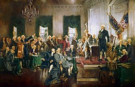 Painting by Howard Chandler Christy, depicting the signing of the Constitution of the United States, with Washington as the presiding officer standing at right