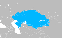 Kazakh Khanate in around 18th century with modern borders