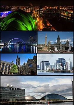 Clockwise from top-left: night view of the SEC Armadillo and River Clyde; the Clyde Arc bridge; George Square with Glasgow City Chambers in the background; the main building of the University of Glasgow; Glasgow Harbour; Pacific Quay area, home of BBC Scotland and the Glasgow Science Centre