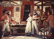 Painting of Laura Secord warning British commander James FitzGibbon of an impending American attack at Beaver Dams