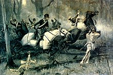 A R.F. Zogbaum scene of the Battle of Fallen Timbers includes Native Americans taking aim as cavalry soldiers charge with raised swords and one soldier is shot and loses his mount.