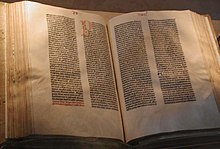 Gutenberg bible open to page