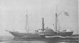 two-masted schooner, centered side wheel, tall centered smokestack