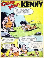 "3 panels, a brawny man standing to the left and a child to the right on the grass in front of a cave. The man is holding a hammer in his right hand and has only 2 teeth visible, the child a spear and dragging a cat behind him, and both are dressed in wraps around their waist with a strap around one shoulder. The man says, ""Well, son, you did very well on your first hunting trip...now you get your second lesson in surviving!"" The child says, ""Me got food, what else do me have to do?"" to which the man responds, ""You got to learn to start fire and cook food!"" The third panel shows the child looking at a small tipi pyre, the man walks away and says, ""There is wood, now you light! I can't tell how—you must find out for yourself!"" and the child says to himself, ""Jumping mammoths. Me gotta figure out all alone! I know, will use flint stone to make sparks!"""