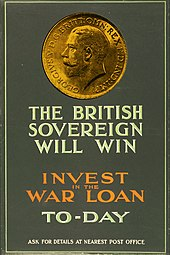 Poster depicting the gold sovereign with text urging support for the British cause in the First World War
