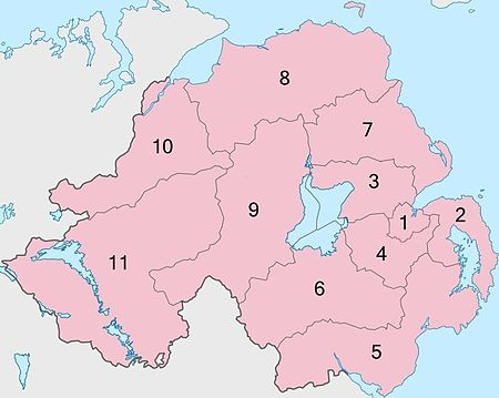 11 Northern Ireland local government districts, operating in shadow form 2014-2015.