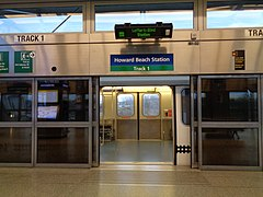 Platform screen doors at the AirTrain JFK's Howard Beach station