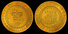 Gold coin with a crown on one side and the denomination of one pound on the other