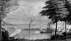 Engraving of naval battle