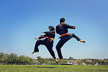 A woman and a man in black outfits with red belts practising the martial art of Silat Melayu