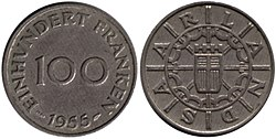 100 Saar francs reverse and obverse