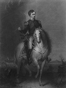 Illustration of Franklin Pierce as a general, riding a horse