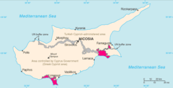 Location of Akrotiri and Dhekelia (pink) on Cyprus (pink, grey, and beige)