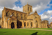 the exterior of Sherborne Abbey