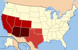 Though regional definitions vary from source to source, Arizona and New Mexico (in dark red) are almost always considered the core, modern-day Southwest. The brighter red and striped states may or may not be considered part of this region. The brighter red states are also classified as part of the West by the U.S. Census Bureau, though the striped states are not (Oklahoma and Texas).[1]
