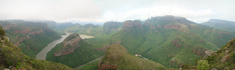 Blyde River Canyon. The Three Rondavels are seen to the right of the center of this view.