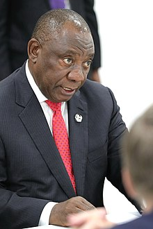 President of South Africa MC Ramaphosa speaks to Russian President (28 June 2019).jpg