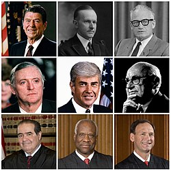 Collage of nine American conservatives: Ronald Reagan, Calvin Coolidge, Barry Goldwater, William F. Buckley Jr., Jack Kemp, Milton Friedman, Antonin Scalia, Clarence Thomas, Samuel Alito